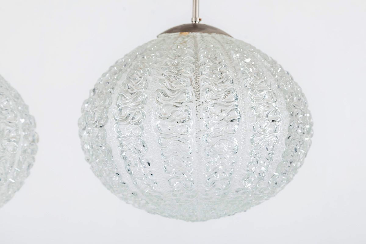 Mid Century Space Age Glass Pendant From Doria Leuchten, 1960s