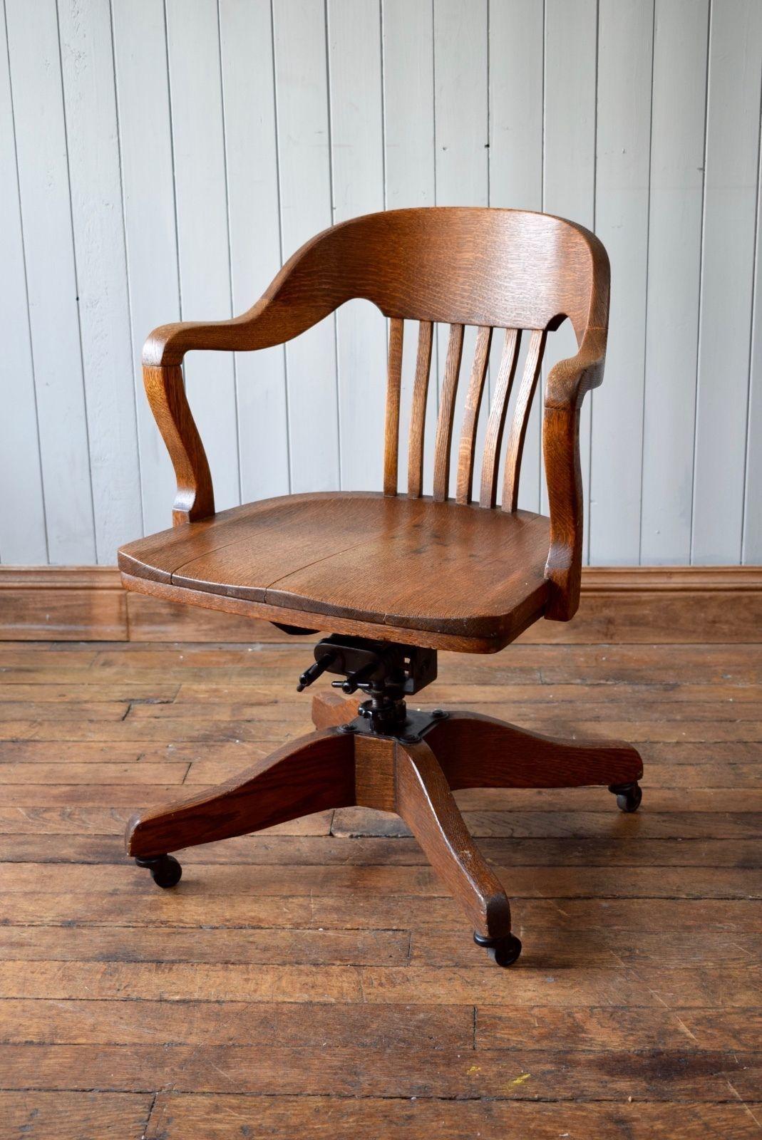 Awe Inspiring Antique Captains Swivel Oak Swivel Desk Office Chair Marble Shattuck Chair Co Machost Co Dining Chair Design Ideas Machostcouk
