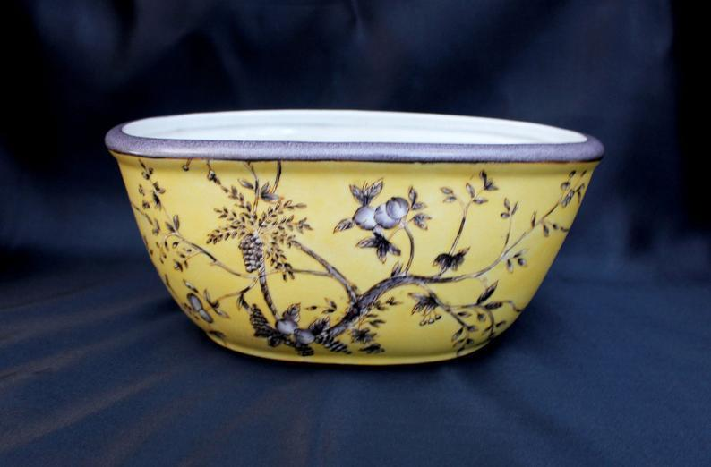 Vintage Asian Led Ceramic Planter Chinese Yellow Ground Grisaille Decorated Bowl United Wilson Of Hong Kong You Xian Ju Jianzhi