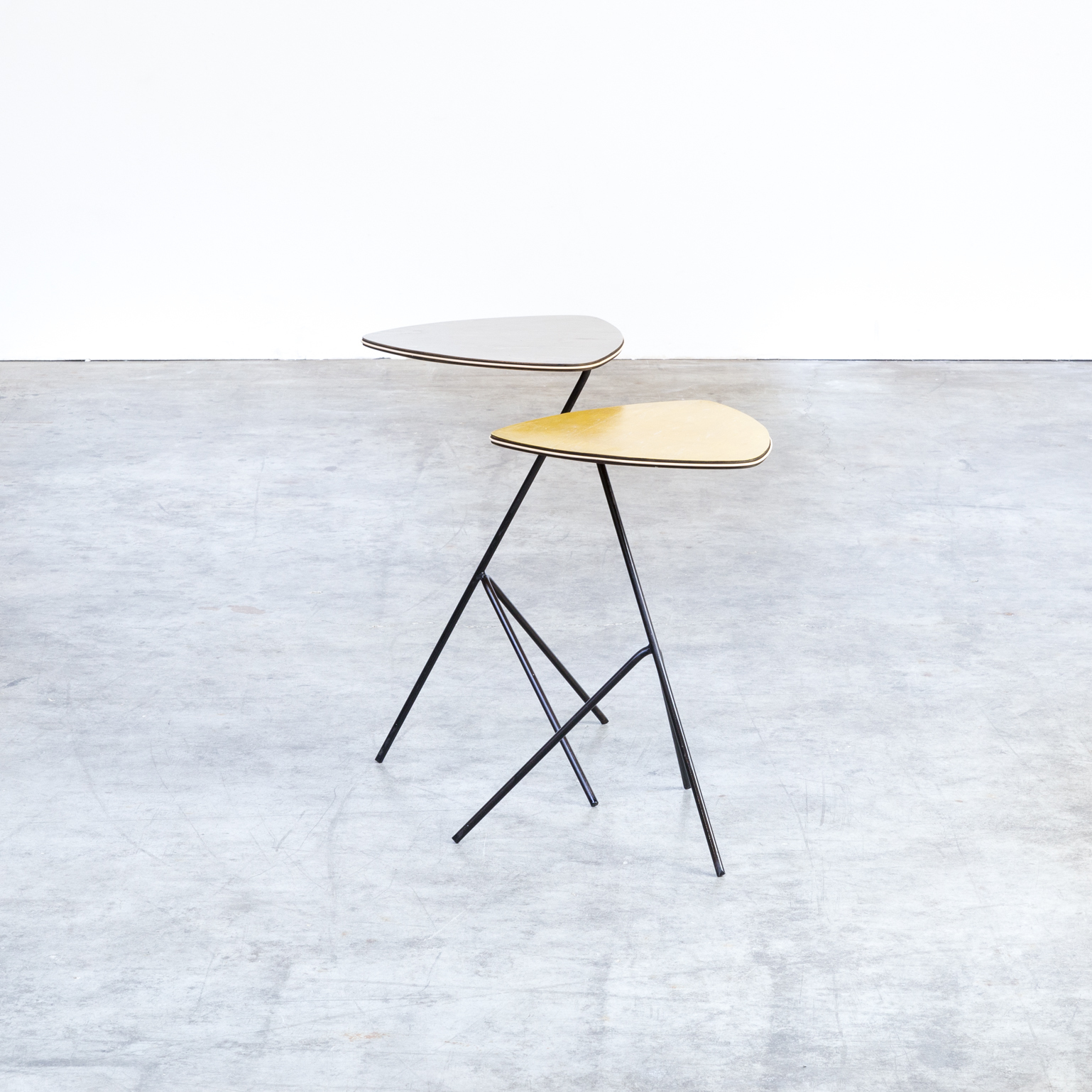 Awesome 40S Mathieu Mategot Side Tables Triangle For Artimeta Set 2 Download Free Architecture Designs Lukepmadebymaigaardcom