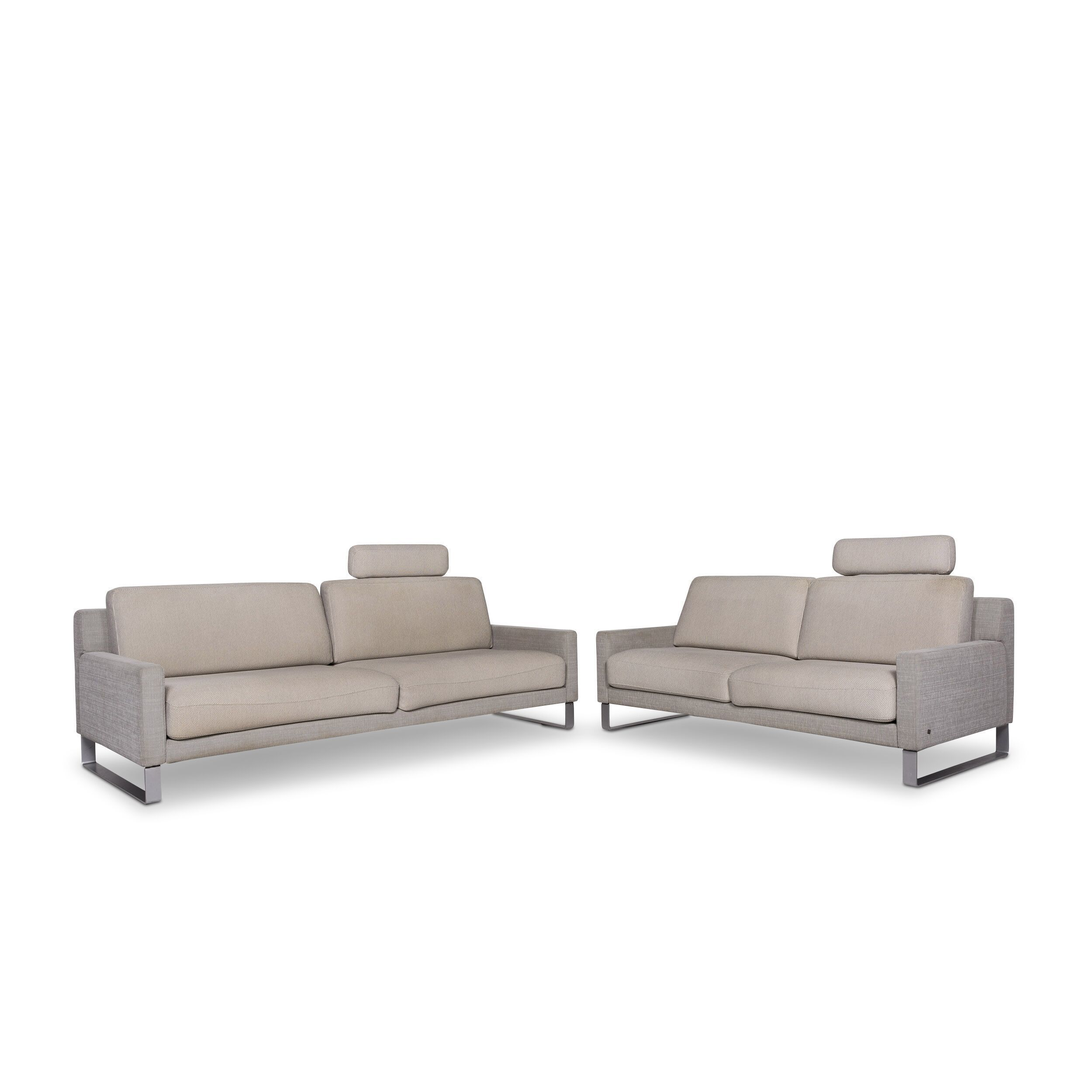 Rolf Benz Ego Designer Sofa Set Cream 1x Three Seater 1x Two Seater Couch 9904