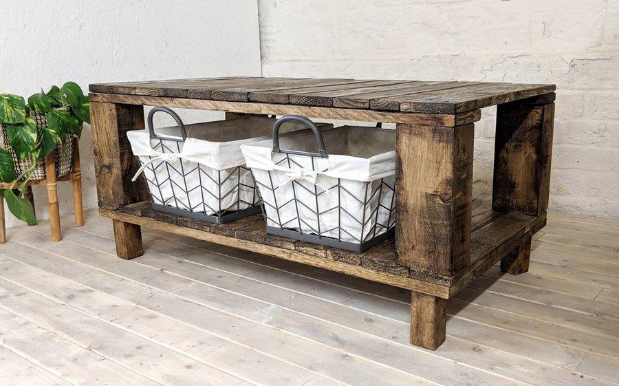 Rustic Storage Coffee Table Ahvima With Baskets In Roast Coffee