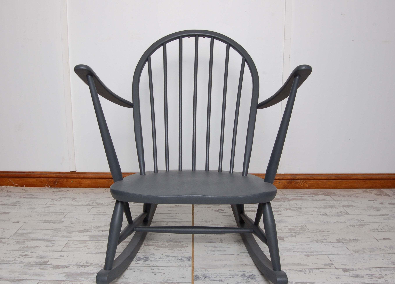 Incredible Vintage Ercol 470 Tub Rocking Chair Grey Evergreenethics Interior Chair Design Evergreenethicsorg