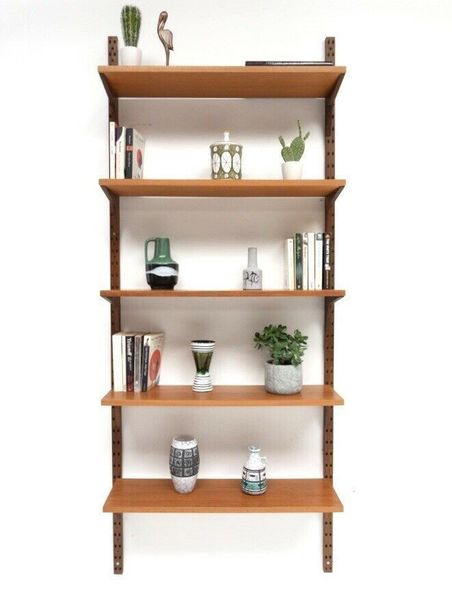 Superb Mid Century Danish Vintage Teak Cado Wall Shelving Bookcase /818