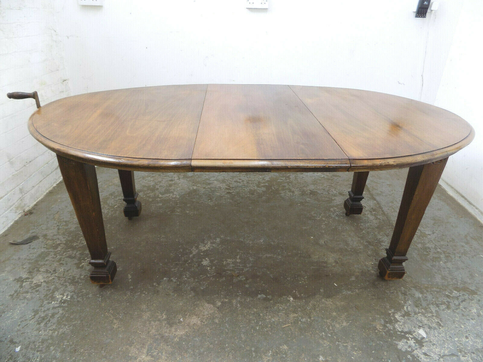 Antique Edwardian Oak Oval Extendable Wind Out Dining Table Square