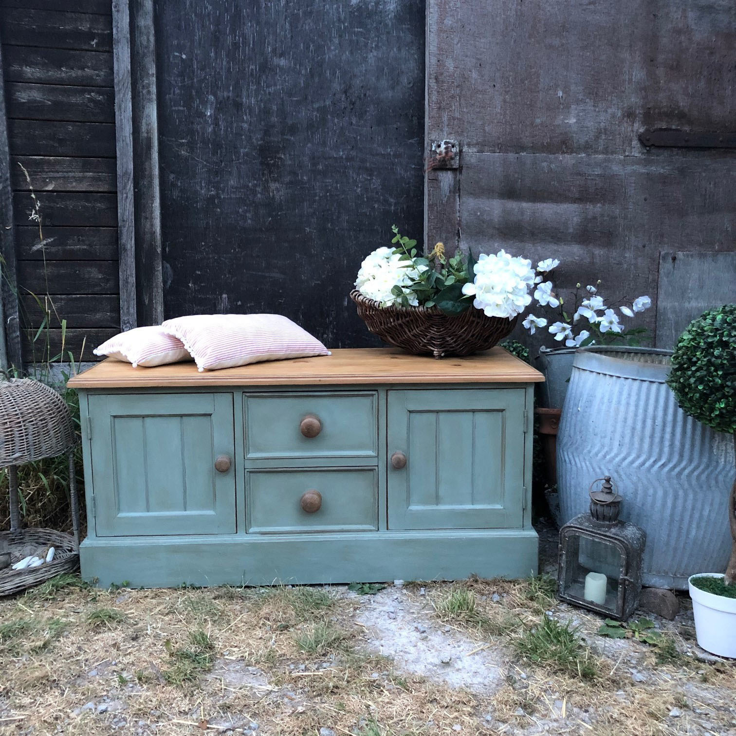 Astonishing Duck Egg Blue Hand Painted Vintage Pine Country Farmhouse Storage Bench End Of Bed Ottoman Tv Cabinet Evergreenethics Interior Chair Design Evergreenethicsorg