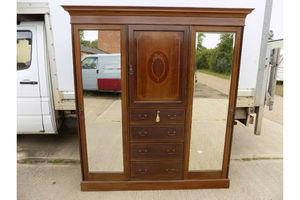 Thumb antique mahogany mirrored doors edwardian wardrobe drawers compactum breakdown united kingdom of great britain and northern ireland 0