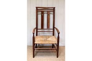 Thumb arts and crafts oak rush seat chair english c 1900 0
