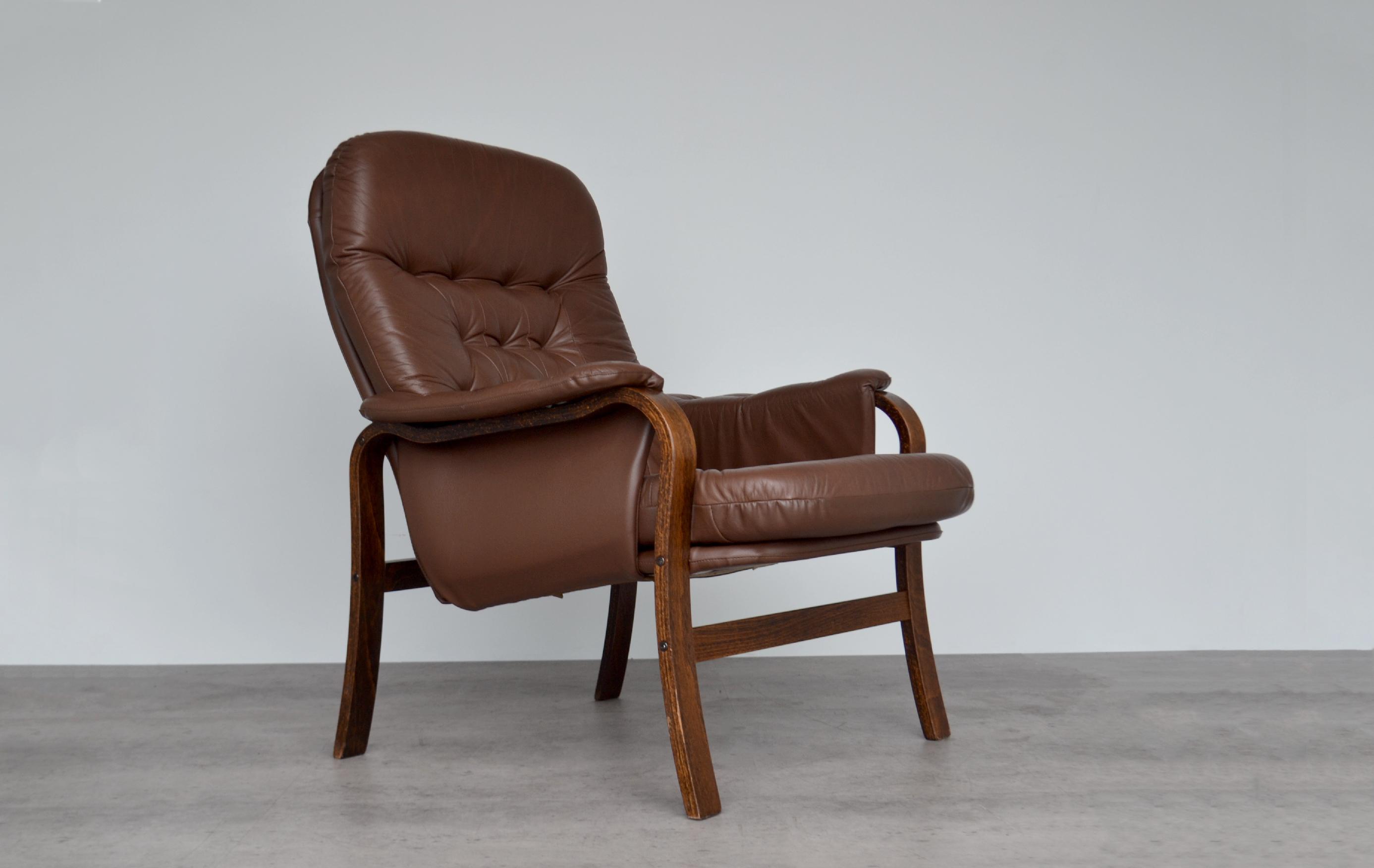 Image of: Vintage Mid Century Norwegian Rosewood And Leather Bentwood Armchair Chair Lounge Chair By Ingmar Relling For Westnofa Ingmar Relling Westnofa Vinterior