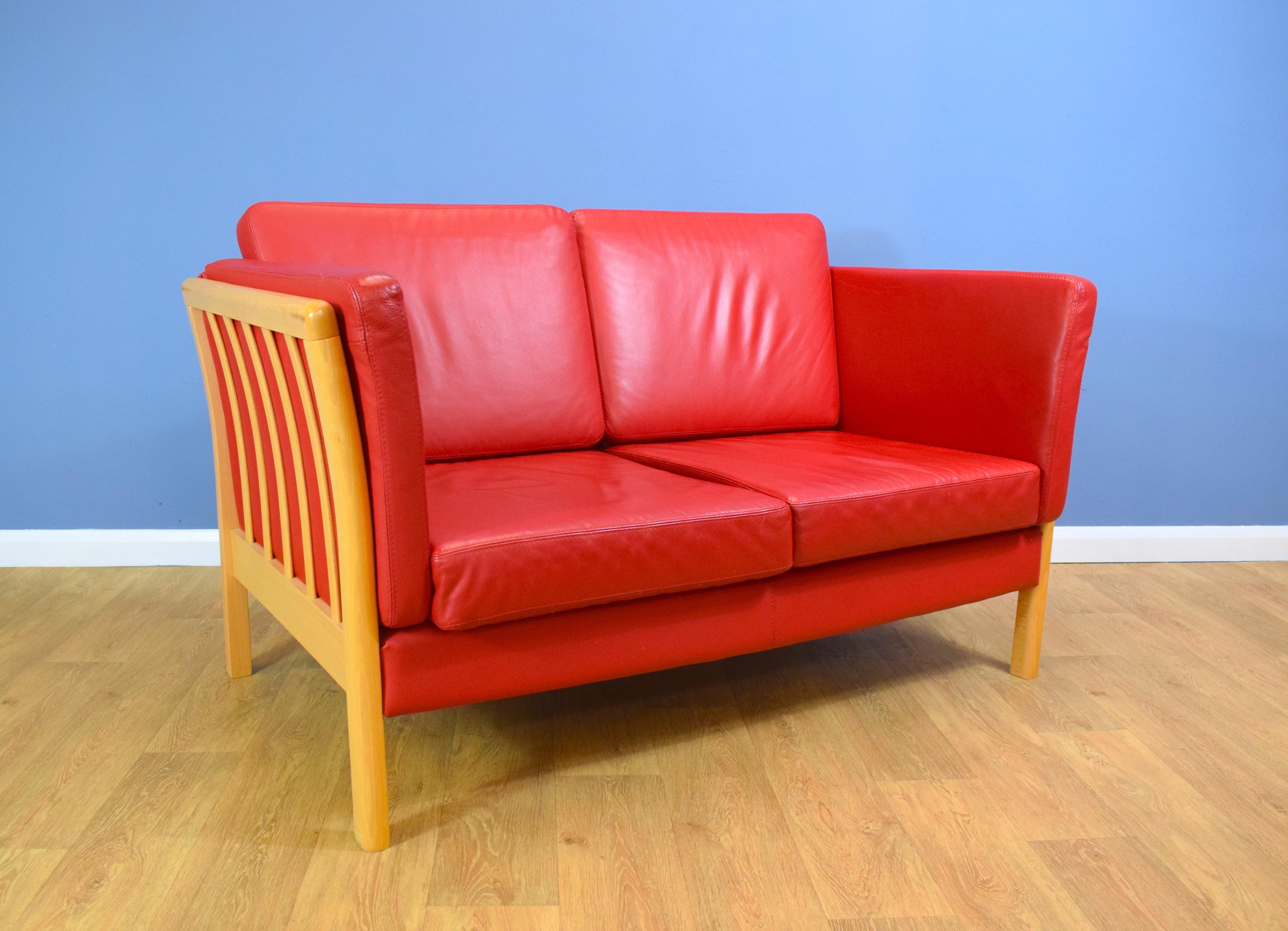 Brilliant Mid Century Retro Modern Danish Red Leather Stouby Style Sofa Settee 1990S Inzonedesignstudio Interior Chair Design Inzonedesignstudiocom