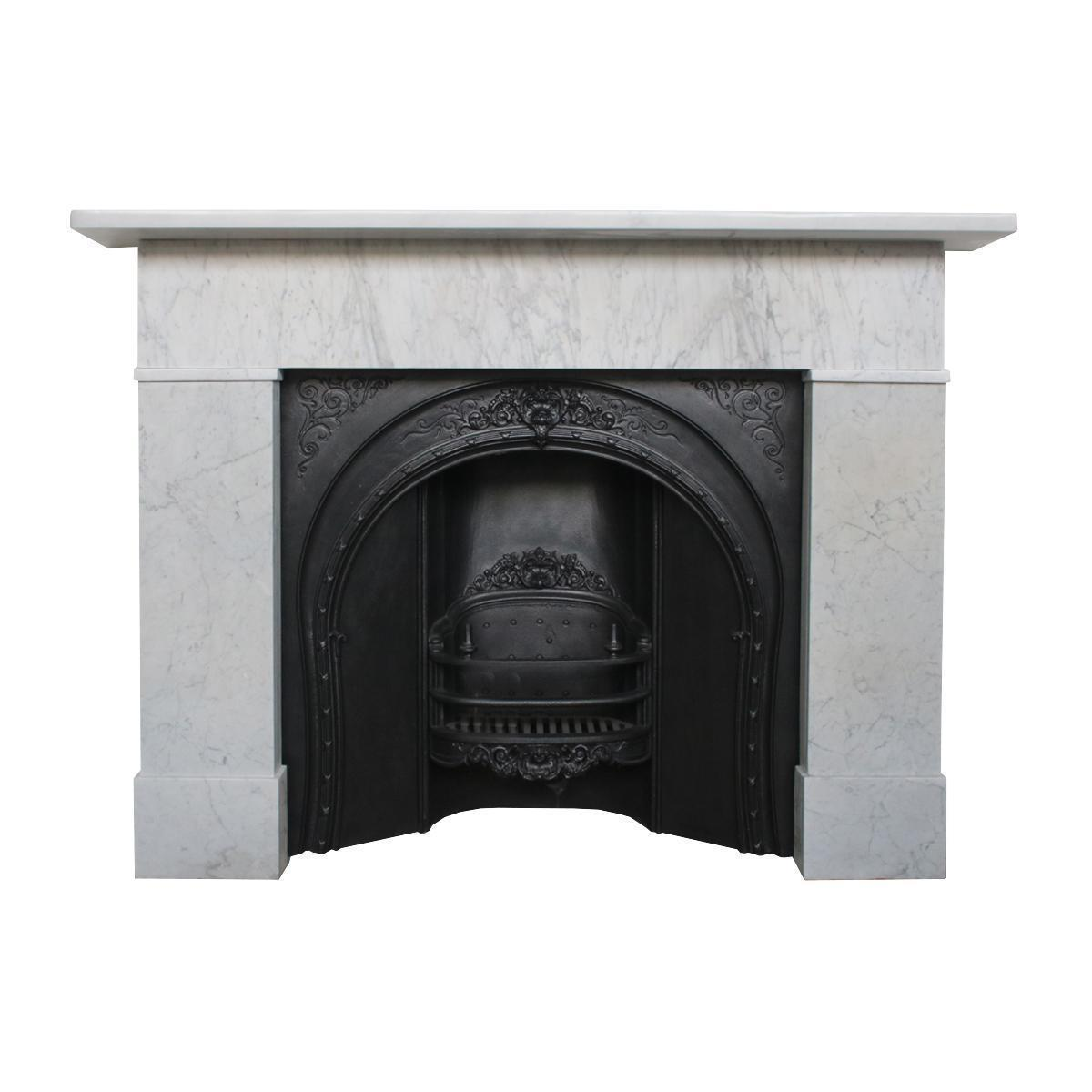Simple Mid 19th Century Victorian Carrara Marble Fireplace Surround Vinterior