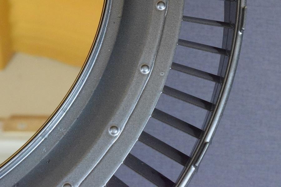 Pewter Aero Salvage Mirror Pratt Whitney Jt8 Support Ring Vinterior