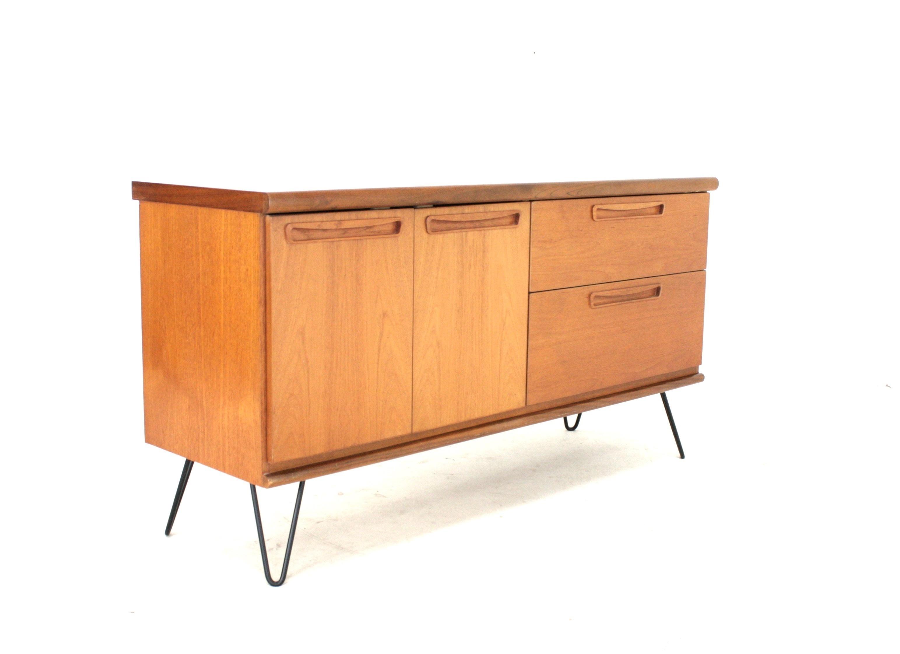 sale retailer c12db 54531 Vintage Mid Century Danish Influence 1970's Teak Sideboard On Hairpin Legs  By Meredew
