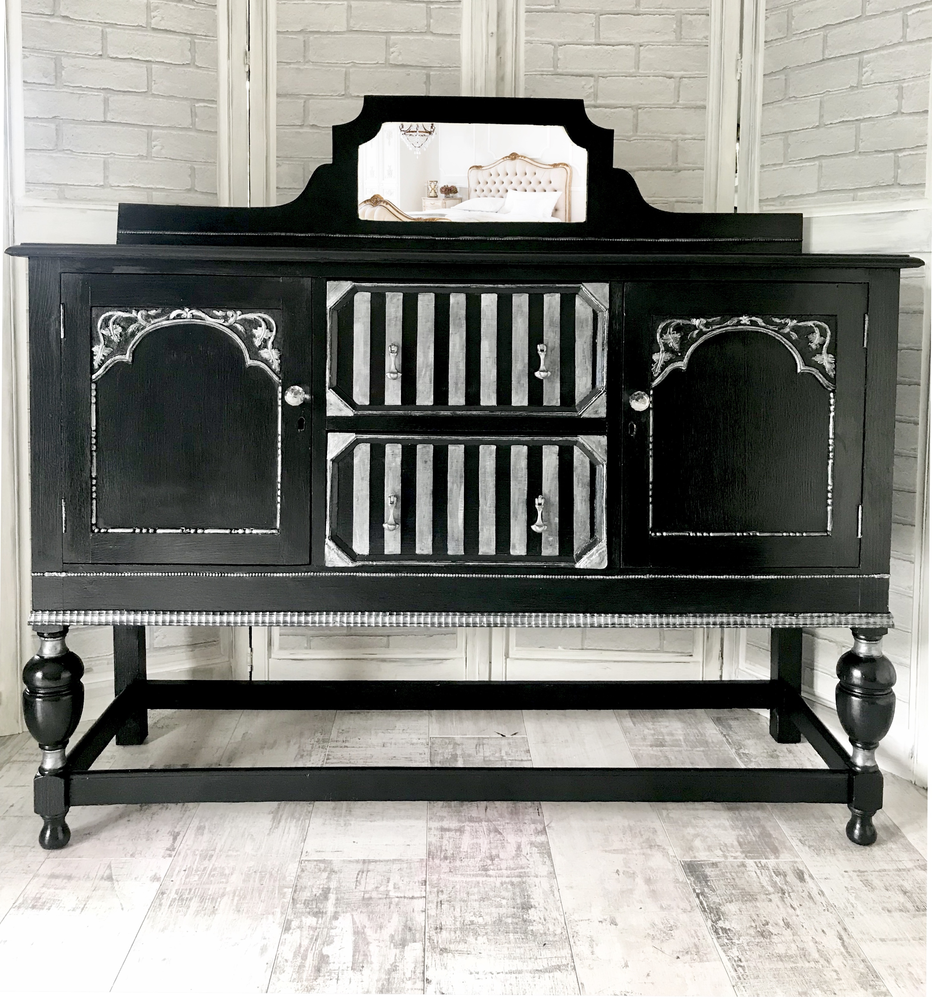 Beautiful Black Silver Sideboard Dresser With Mirror