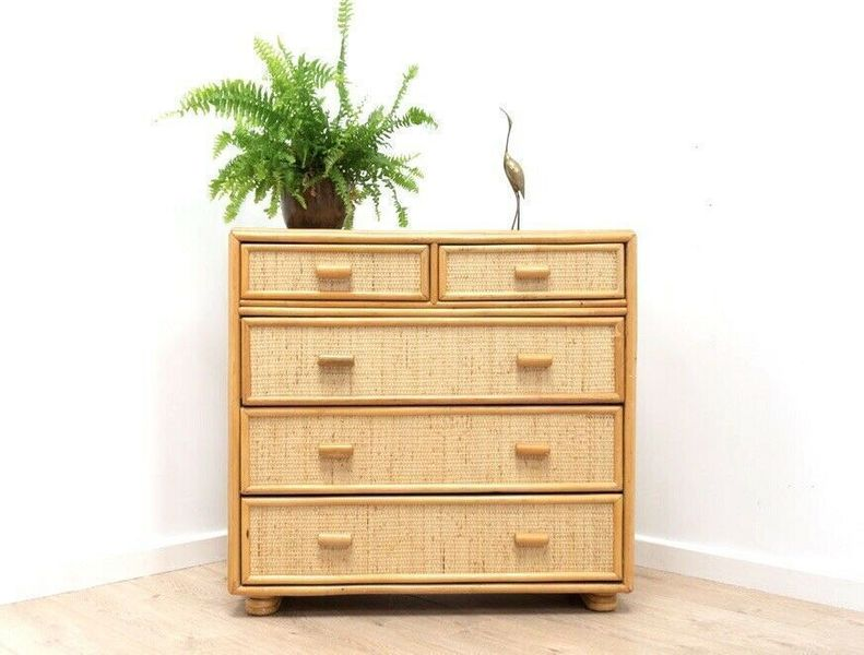 buy popular a0ddf 34ed3 Mid Century Vintage Bamboo & Rattan Wicker Chest Of Drawers Tall Boy /838