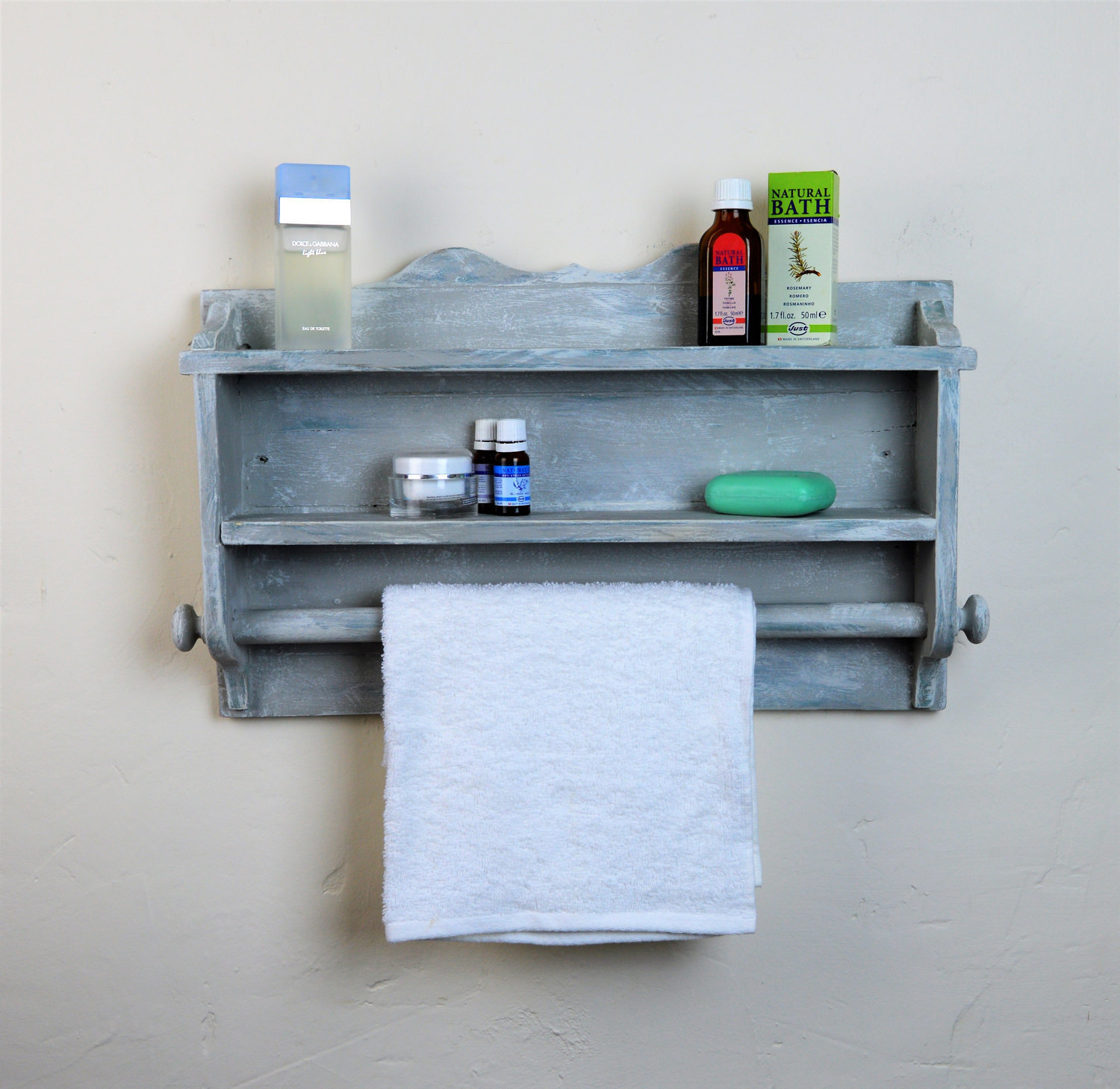 Wooden Towel Rail Bathroom Kitchen Shelves Handmade Annie Sloan Chalk Paint Vinterior