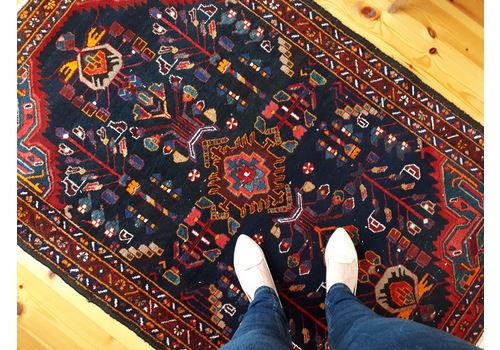 Blue Vintage Turkish Kars Rug, Handmade Persian Wool Carpet