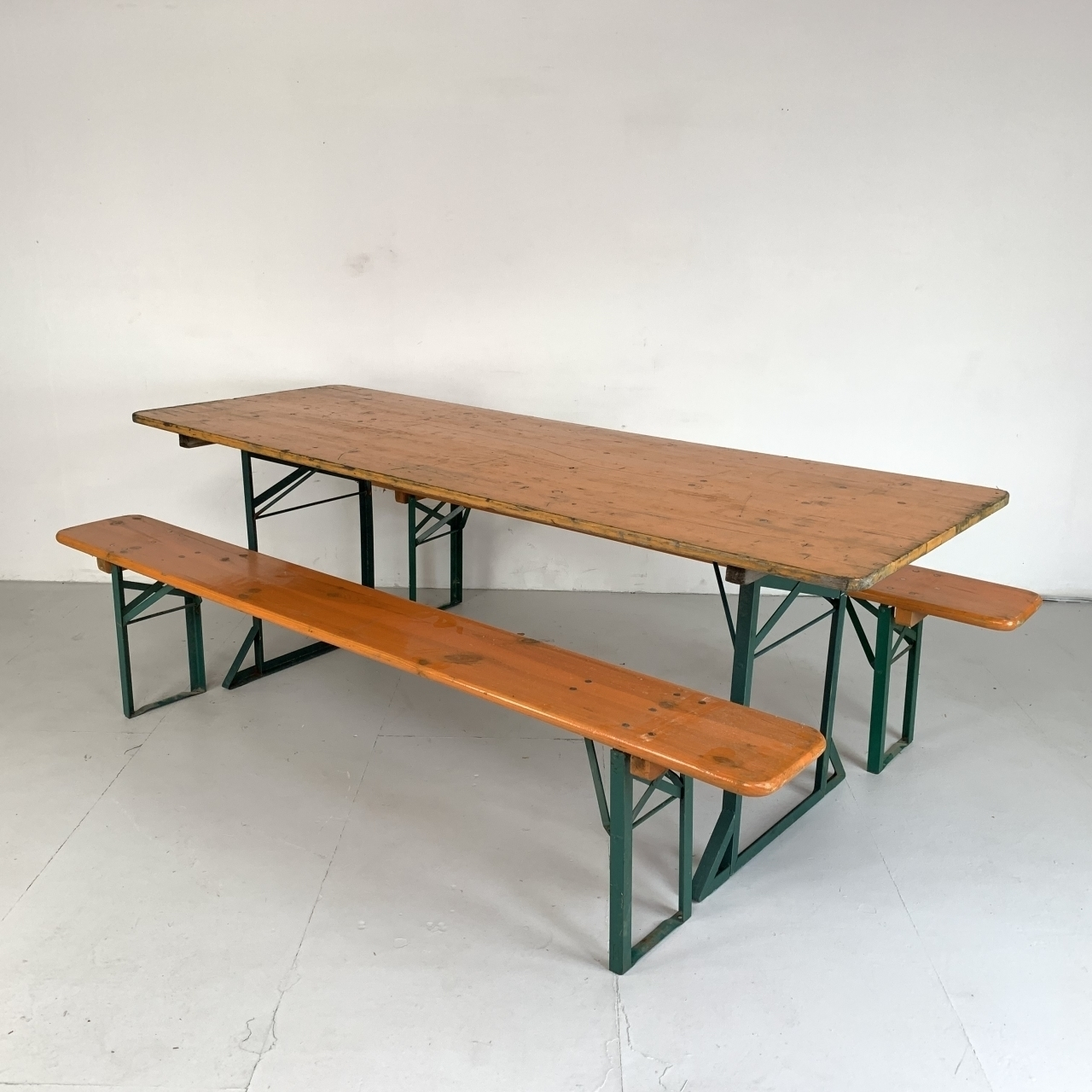 Astounding Extra Wide Vintage German Beer Table And Benches In Orange Evergreenethics Interior Chair Design Evergreenethicsorg