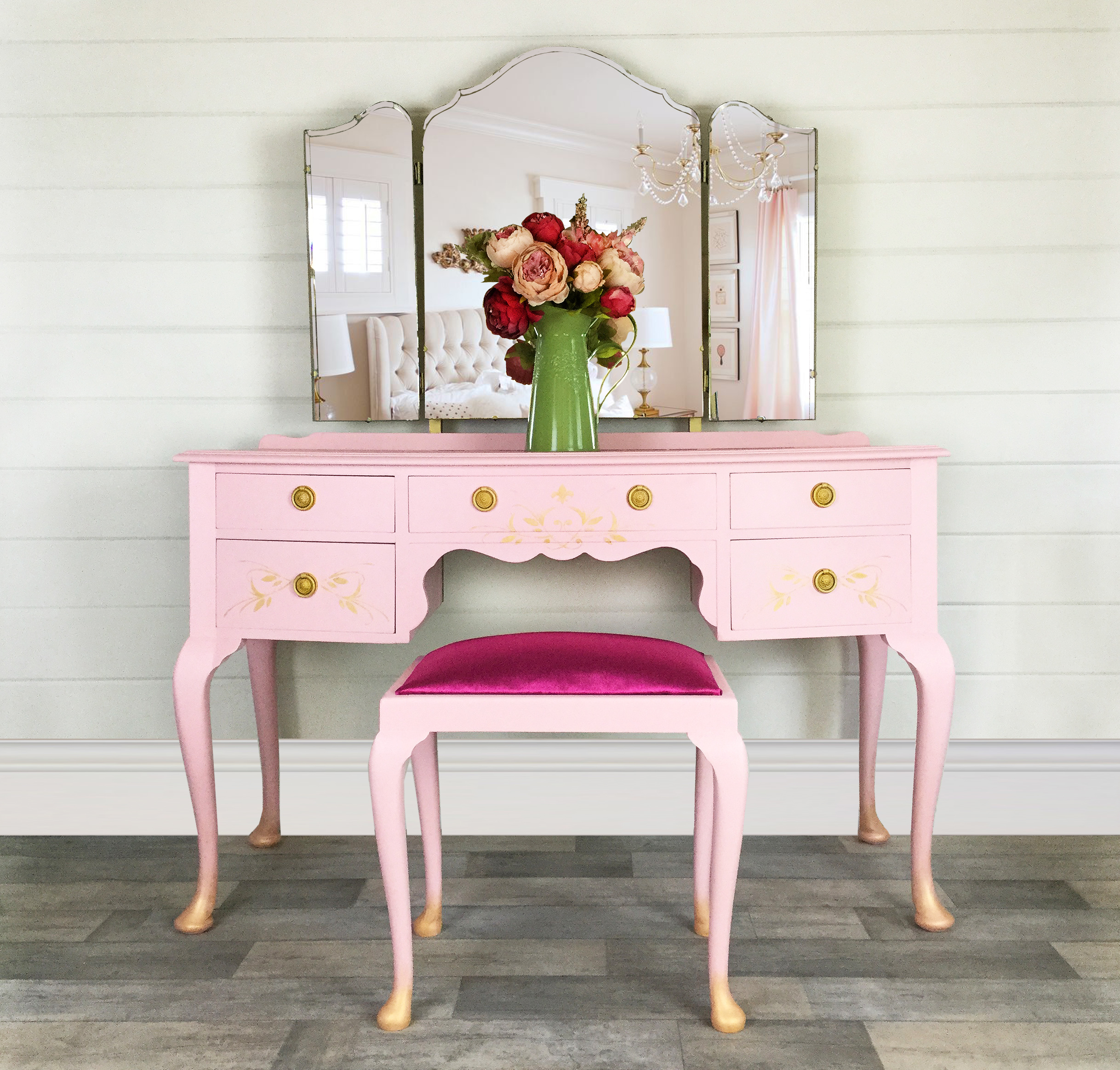 Pink And Gold Vintage Dressing Table With Stool, Girls Dressing Table,  Bedroom Furniture