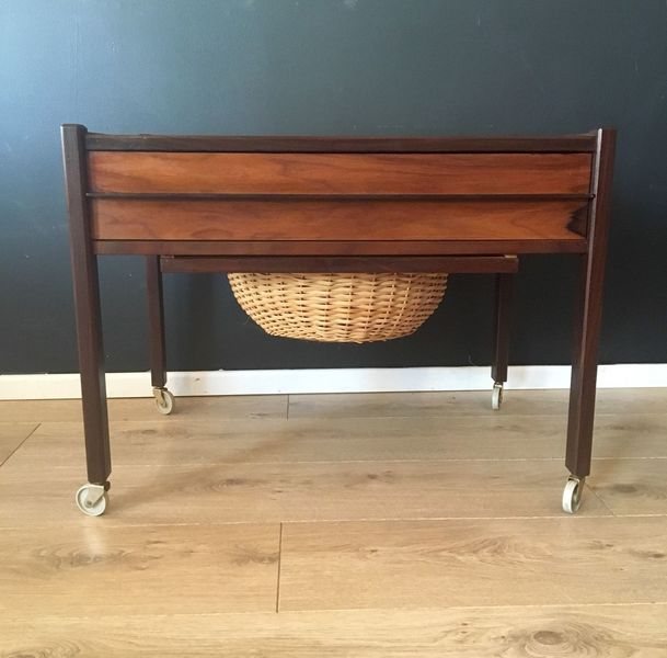 Vintage Mid Century Danish Rosewood Sewing Table With Rattan / Wicker Basket 1960's