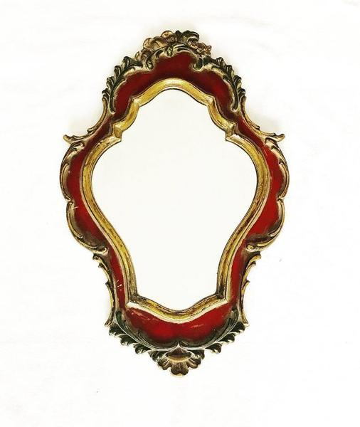 Vintage Decorative Mirror Golden Red Bevelled Edge Design Mid Century Made Baroque Resin Rococo Shabby Chic Decor Ready To Hang Hollywood
