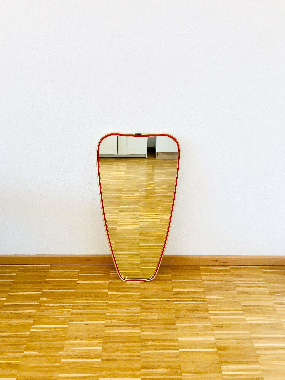 Large Mid Century Modern Full Length Mirror Brass Framed Asymmetrical Design Red Edging Germany 1950s Vinterior