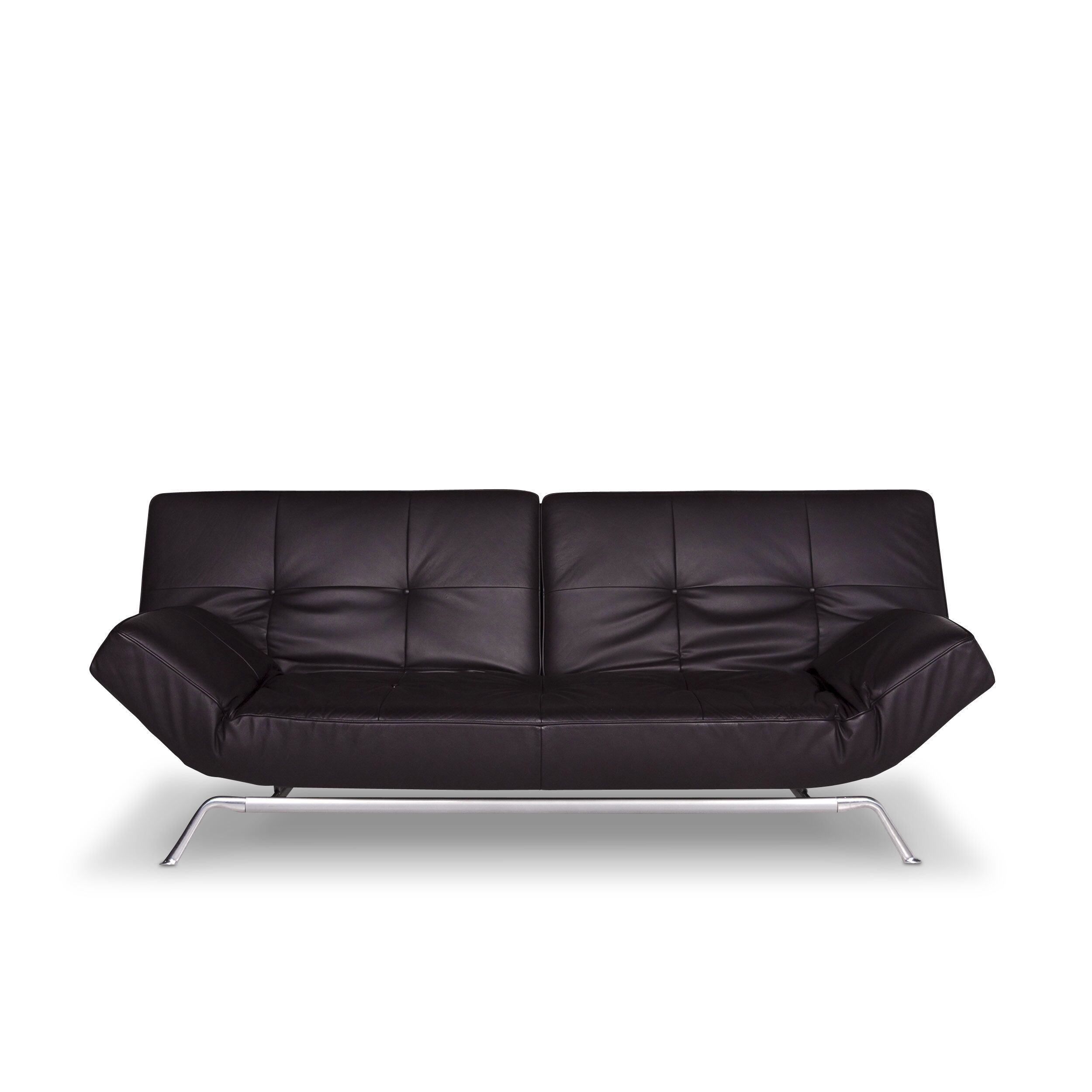 Ligne Roset Smala Leather Sofa Eggplant Two Seater Bed Function Couch 9720