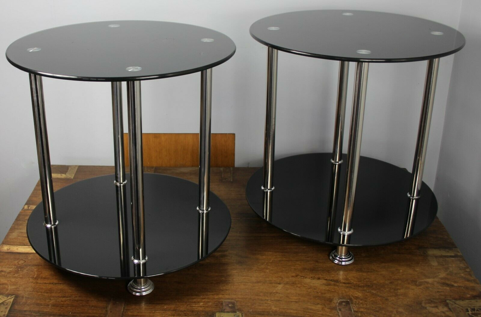 A Pair Of Vintage 1970 S 80 S Black Glass Chrome Round Two Tier