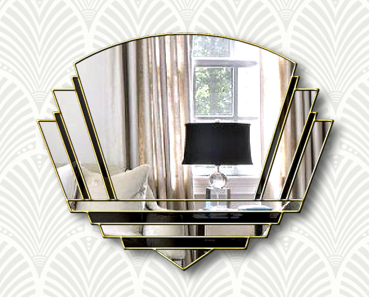 Phillipe Original Handcrafted Art Deco Wall Mirror In Black With A Gold Trim Phillip Orr Vinterior