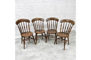 Thumb set of 4 c19th antique windsor kitchen dining chairs 0