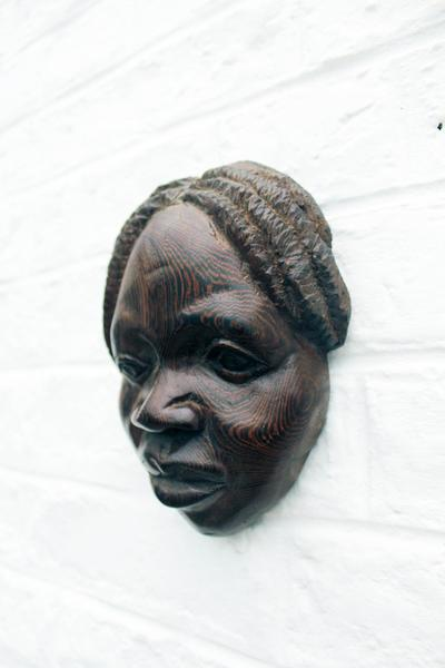 Vintage African Wood Carved Mask Wall Hanging