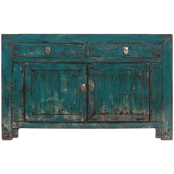 Vintage Chinese 2 Drawer 2 Door Blue Cabinet From Gansu