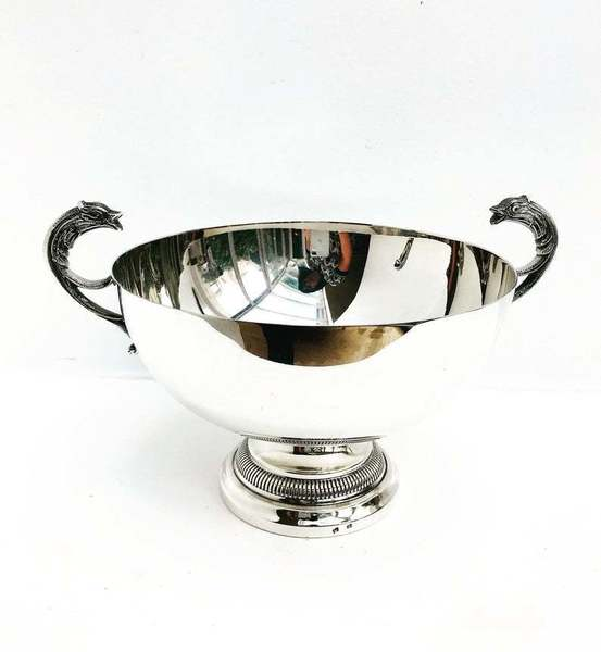 Centerpiece Fruit Bowl Antique Silver Plated Footed Dish Double Handled Victorian Fish Vintage English