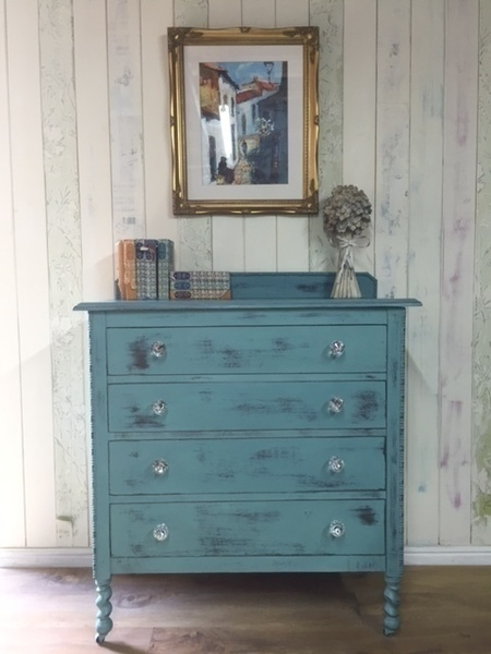 Hand Painted Dresser Chest Of Drawers