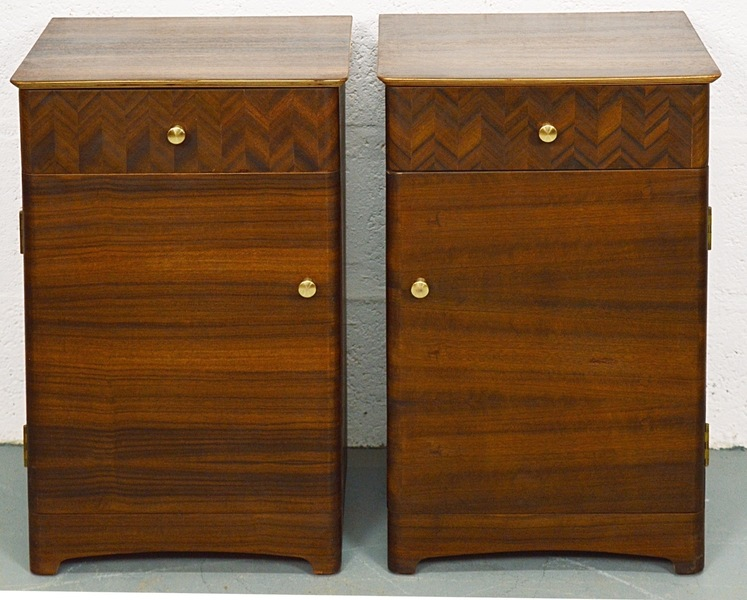 Retro Pair Of Walnut Bedside Cabinets By Uniflex