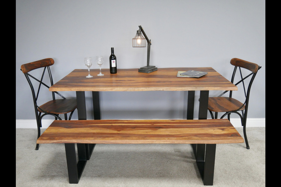 Outstanding Living Edge Industrial Dining Table Set Seats 4 To 6 Table Bench Seat And 2 Chairs Interior Design Ideas Gentotryabchikinfo