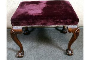 Thumb mahogany ball claw chippendale style dressing stool circa 1920 0