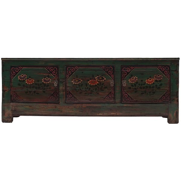 Vintage Chinese Painted Low Cabinet From Beijing