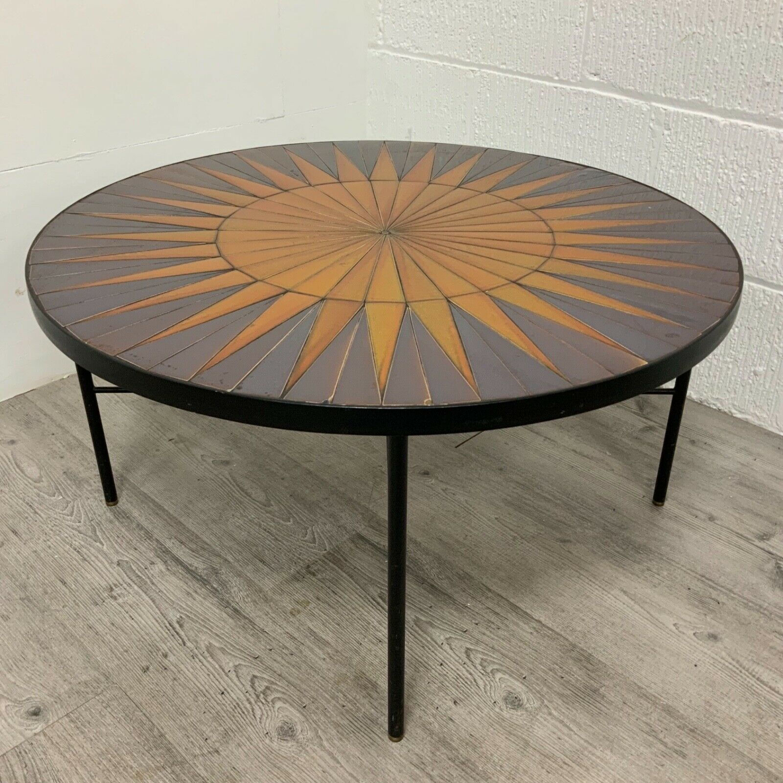 Vintage Mid Century Round Starburst Tile Topped Coffee Table