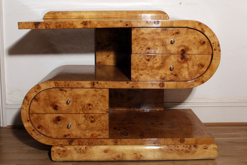 S Shaped Art Deco 1920s Style Cabinet