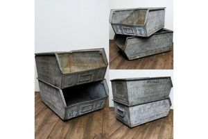 Thumb galvanised metal tote pans trays pair 0