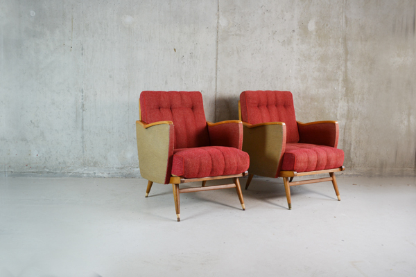 Vintage 1950's Belgian Upholstered Armchairs With Straight Sides