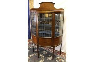 Thumb edwardian mahogany china half moon cabinet lead glass door and inlay 1910s 0
