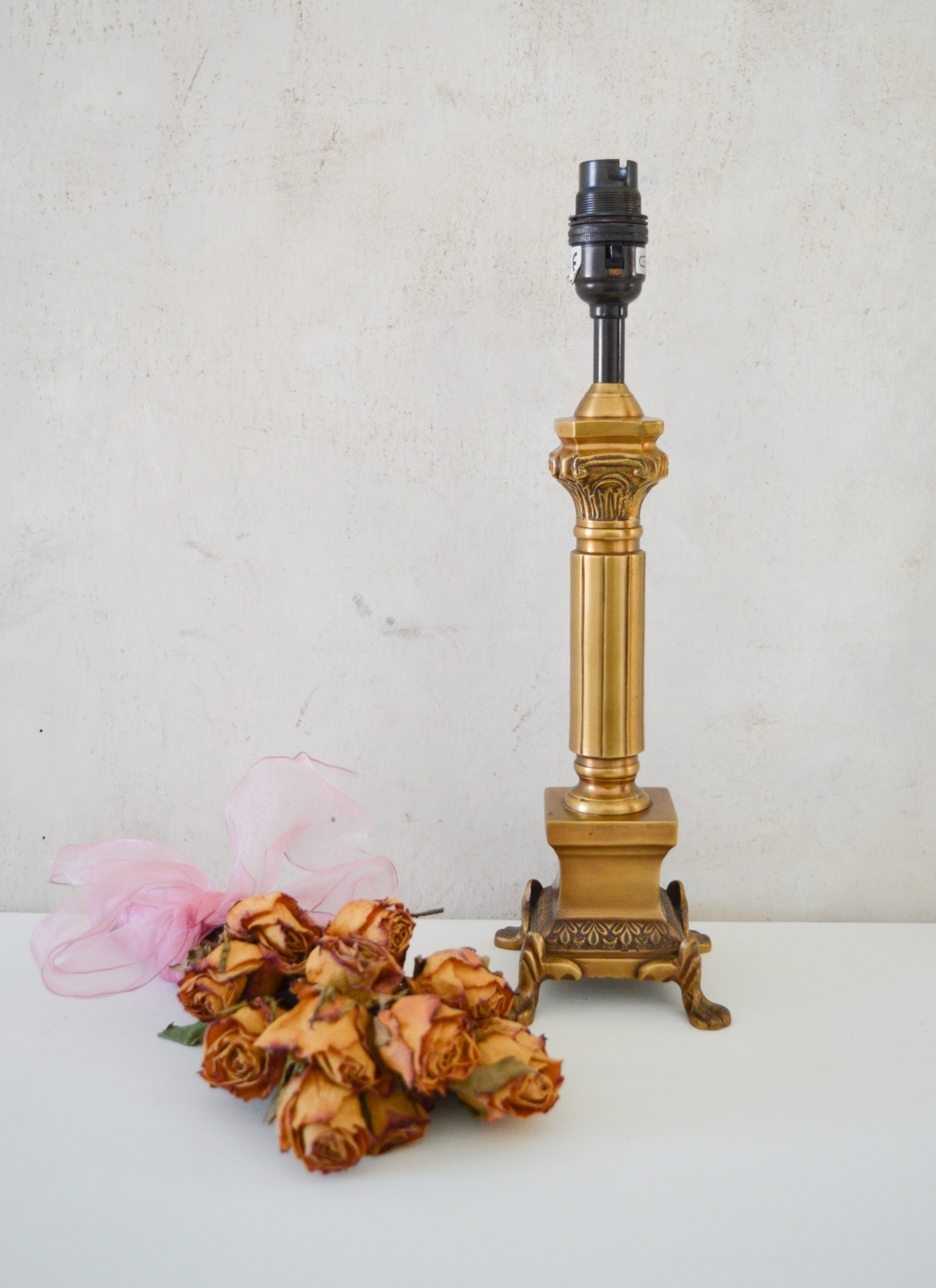 Antique Brass Table Lamp Base With Claw Feet Corinthian Brass Column Bedside Table Lamp Art Deco Vintage Solid Brass Gentlemen S Club Vinterior