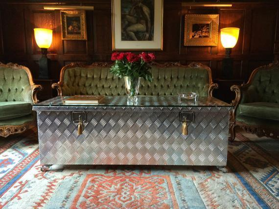 Large Industrial Coffee Table Metal Bespoke Glass Casters