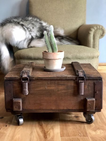 Rustic Coffee Table Storage Side Table Vintage Army Trunk On