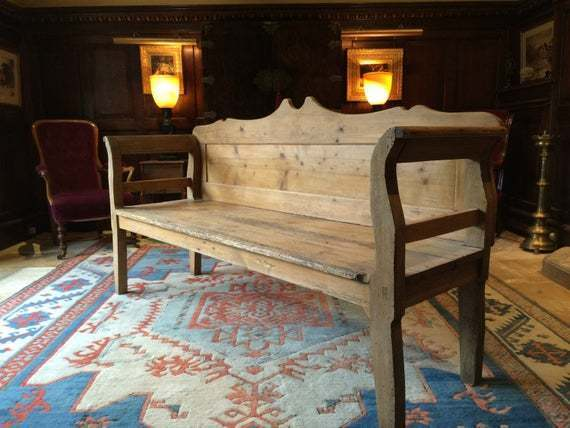 Antique Farmhouse Bench Pew Settle Solid Pine Rustic