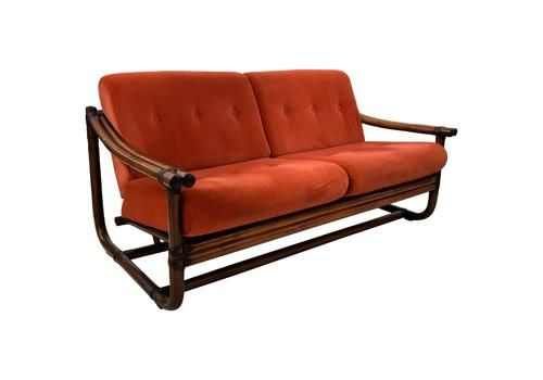 Mid Century Modern Italian Bamboo Two Seat Lounge Sofa