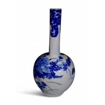 Japanese 1930s Vintage Blue And White Miniature Vase