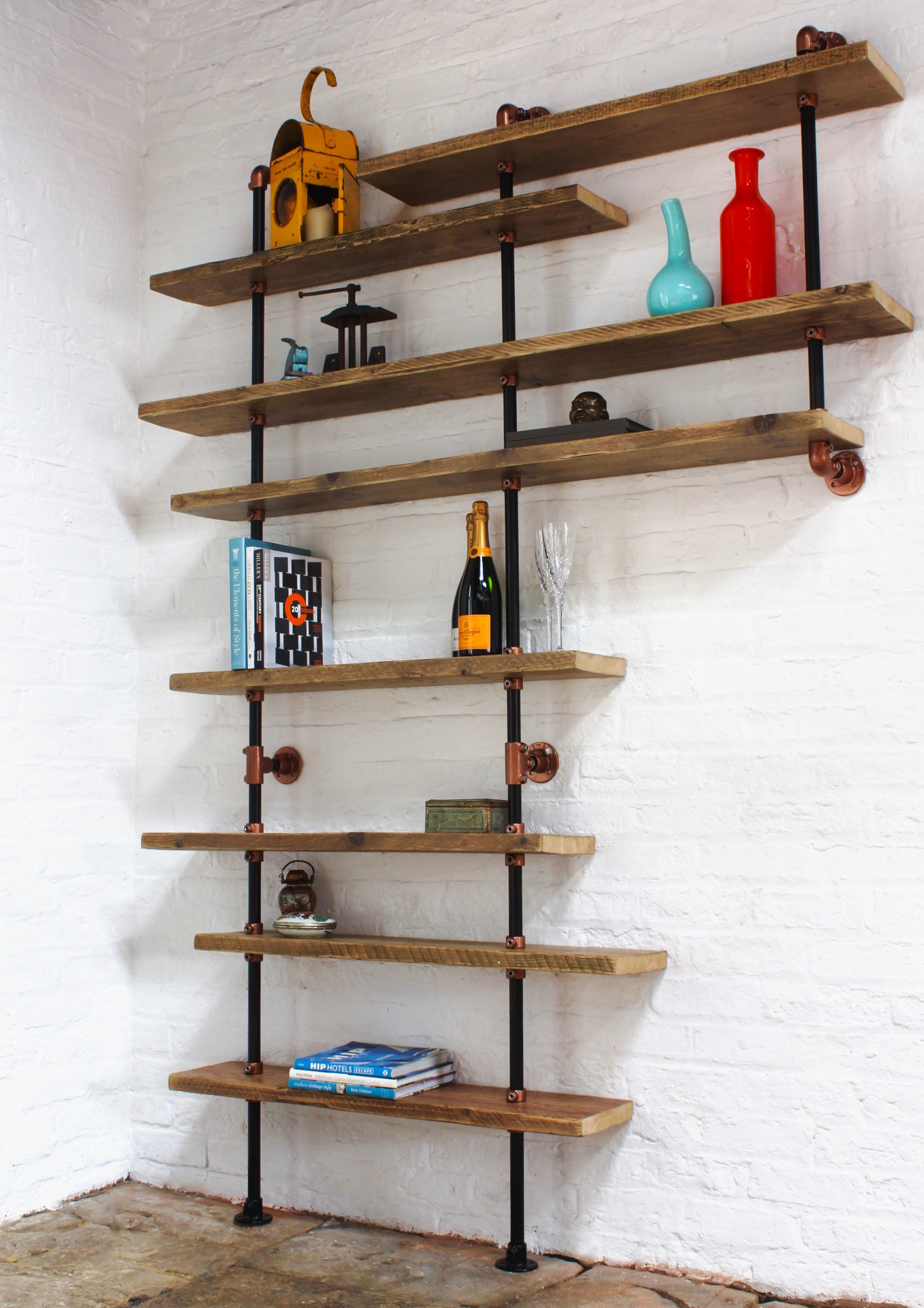 Barney Floor And Wall Mounted Shelving Made With Reclaimed Scaffolding Boards Dark Steel Pipe And Copper Powder Coated Adjustable Fittings